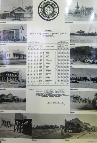 Train schedule of the line Windhoek-Swakopmund in 1902.Windhoek railway museum