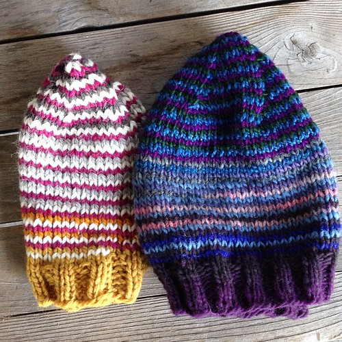 My two most recent helix stripe hats. I posted the one on the left a few days ago but it was a terrible picture. #helixstripes4eva #rosekimknits