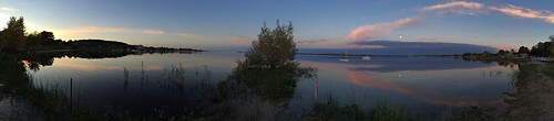 sunset moon pano lavender lakemichigan sailboats westgrandtraversebay iphoneography
