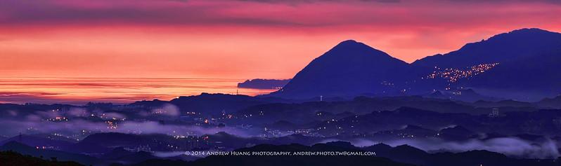 早安台灣  於 五指山 拍攝 日出 遠眺 九份 基隆山