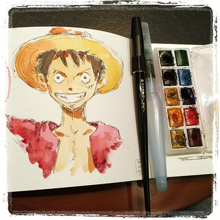 #japon #onepiece #carbon #platinum #watercolor #muji #urbansketch