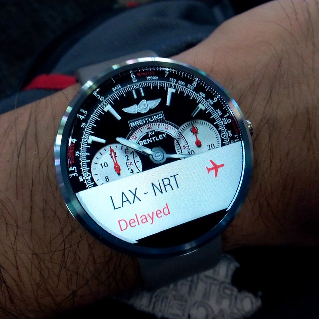 """""""A 45min delay"""", says my watch. #AndroidWear #Moto360"""
