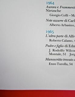 Adelphiana, AAVV. Concezione grafica di Matteo Codignola e Roberto Abbiati; impaginazione di Matteo Spagnolo; fotografie di Luca Campigotto. Indice, la divisione in sezioni è indicata con l'anno in azzurro, a pag. 7 (part.), 1