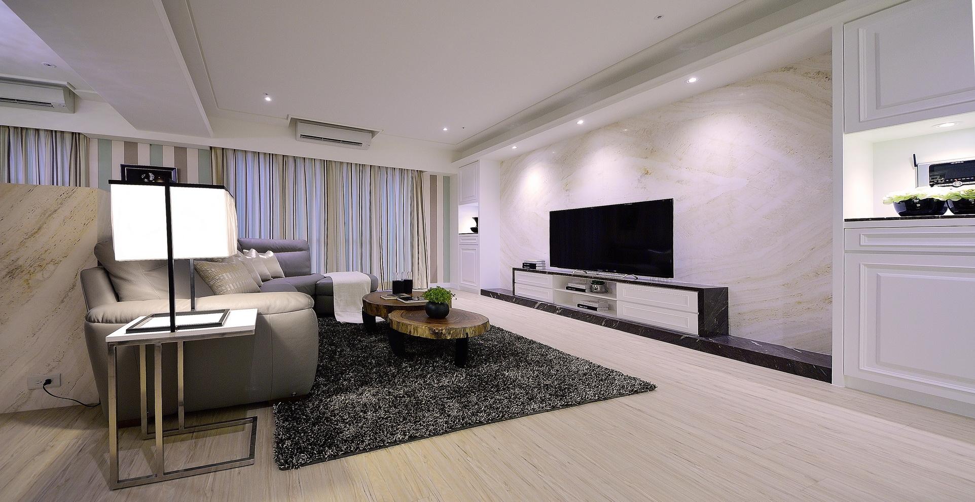 【住宅設計】林口冠東方黃公館-美式簡約居家風客廳-義大利洞石