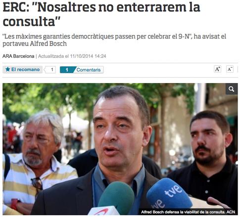 14j12 ara ERC responde a Mas Nosotros No enterraremos la consulta