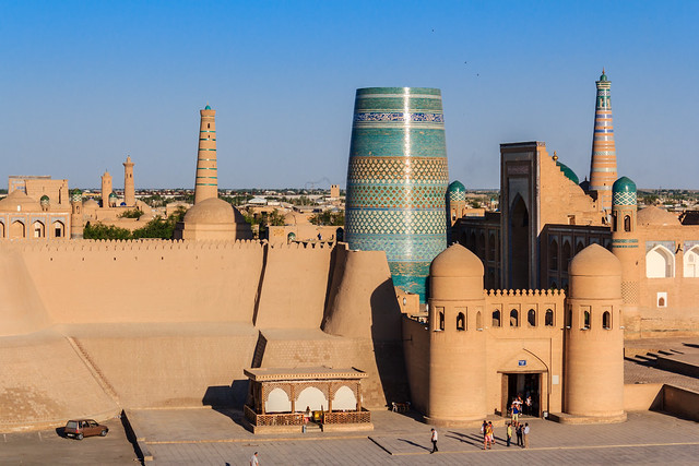 The city gate and walls of Khiva, Uzbekistan
