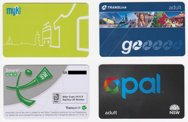 Smartcards: Melbourne, Brisbane, Perth, Sydney