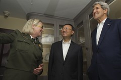 U.S. Secretary of State John Kerry and Chinese State Councilor Yang Jiechi listen as National Park Service Deputy Superintendent Caroline Keinath describes china used by President John Adams and his wife, Abigail, during a tour of the Adams National Historic Site in Quincy, Massachusetts, following a series of bilateral meetings in the Secretary's hometown of Boston on October 18, 2014. [State Department photo/ Public Domain]