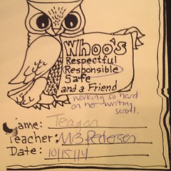Someone had a surprise in her school folder!  Go Teagan!  #owl #yay