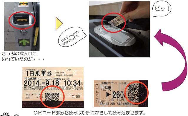沖縄モノレールQRコード切符