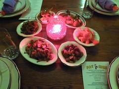 Smoky Tofu and Mushroom, Sweet and Sour Eggplant with Spicy Peanut, Lemongrass Carrot, Radish Bean Achar, Pig Ear Furuso