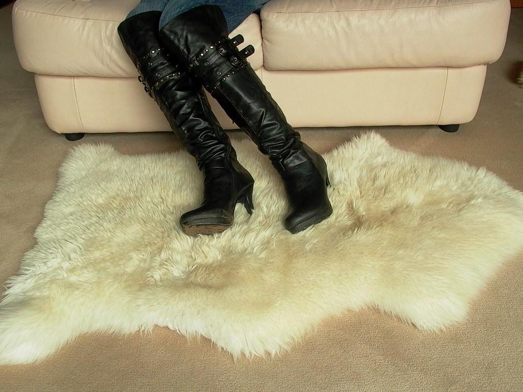 Dirty Stiletto Platform Boots On Sheepskin Rug I My
