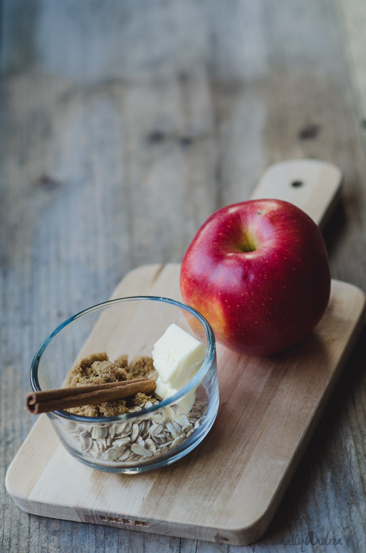 Apple, oats, butter, sugar and cinnamon on a cutting board | personallyandrea.com