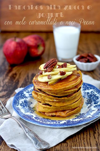 pancakes alla zucca e yogurt con mele caramellate e noci pecan e un invito speciale per voi...