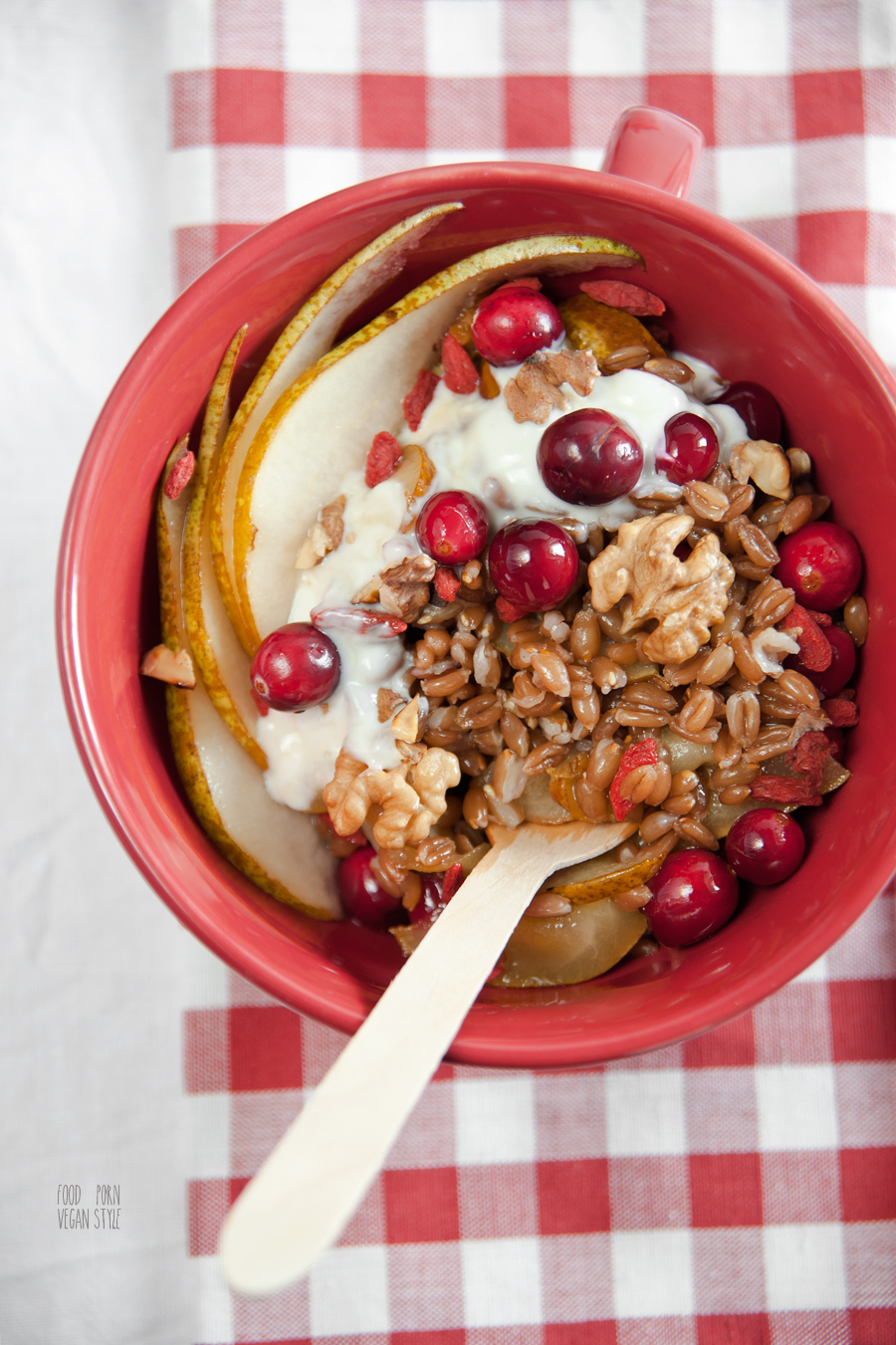 Sweet spelt grains with pears,cranberries,walnuts and maple yoghurt