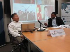 Mendee Jargalsaikhan (left) and Dr. Satu Limaye (right) discuss the future of US-Mongolia relations.