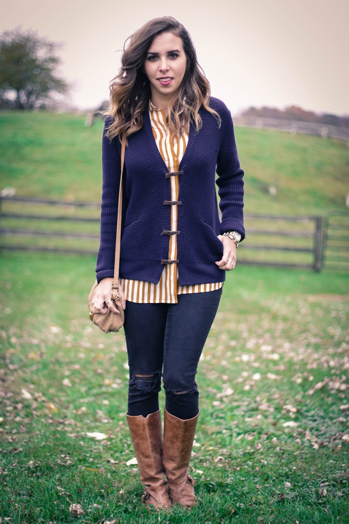 fall outfit. fall layers. virginia winery. knit sweater,. vertical stripe silk shirt. distressed black skinnies. va darling. 7