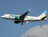 """Frontier Airlines. First flight of an Airbus A320 NEO with the new livery on the tail an animal """"La Marmotte""""."""