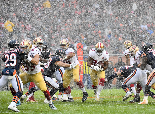 American football in the snow