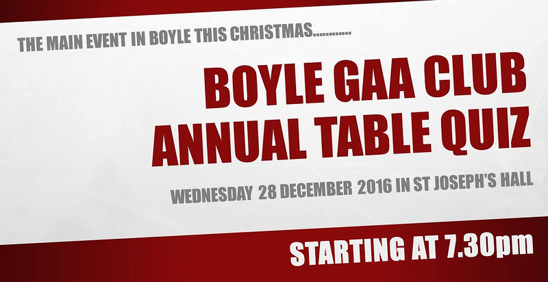 Boyle GAA Annual Quiz (2016)