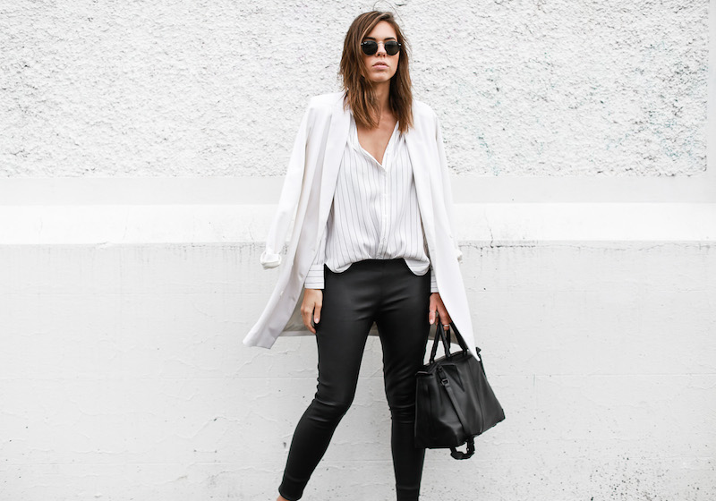 MODERN LEGACY fashion blog pinstripe shirt leather leggings Helmut Lang oxfords Alexander Wang bag black and white street style (6 of 6)