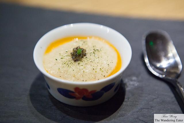 Gazpacho dashi, seawater foam, osetra caviar from Szechuan