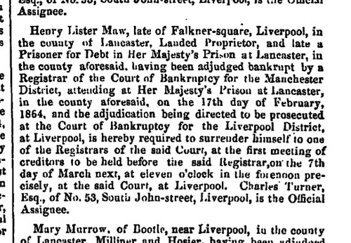 Henry Lister Maw London-Gazette 23 February 1864