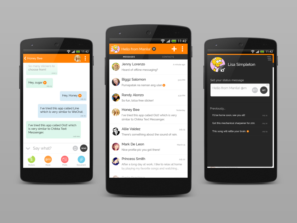 Chikka Text Messenger Android App Mock-ups 2013