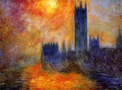 House of Parliament Sun, Claude Monet - Impresionismo