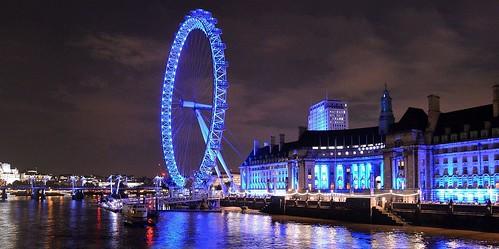 London Skyline 19, County Hall &The London eye.  Night Image. Nikon D3200-DSC_0229.
