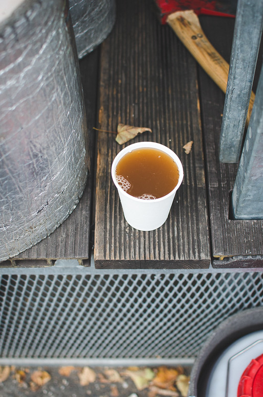 A delightful cup of fresh pair cider at the Vinohrady Famer's Market in Prague.