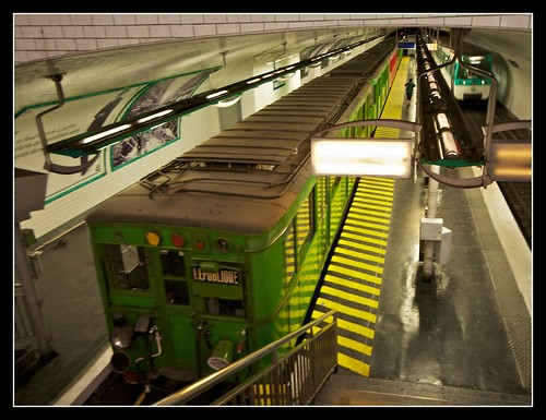 Antique and modern metro trains