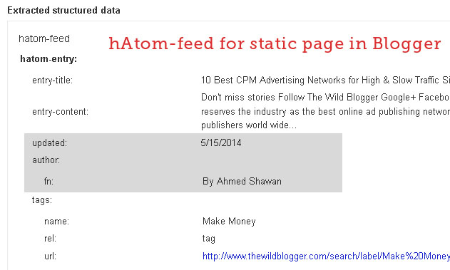 hAtom feed for Static Page in Blogger