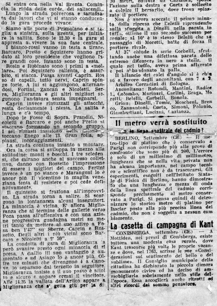 IL GAZZETTINO del 15/09/1935 Nella XIII Brenta-Astico vittoria di Bruno Miglioranza; secondo Paolo Caprin e terzo Attilio Sberze