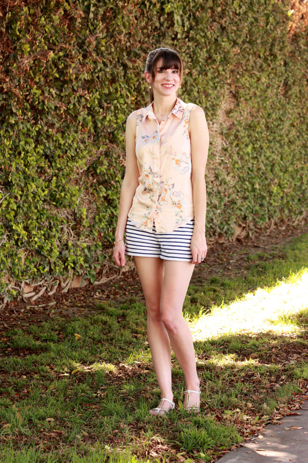 floral blouse, striped shorts, mixed prints