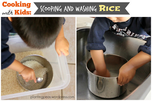Scooping and washing rice