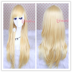 80cm long blonde straight cosplay hair wig CW109-F