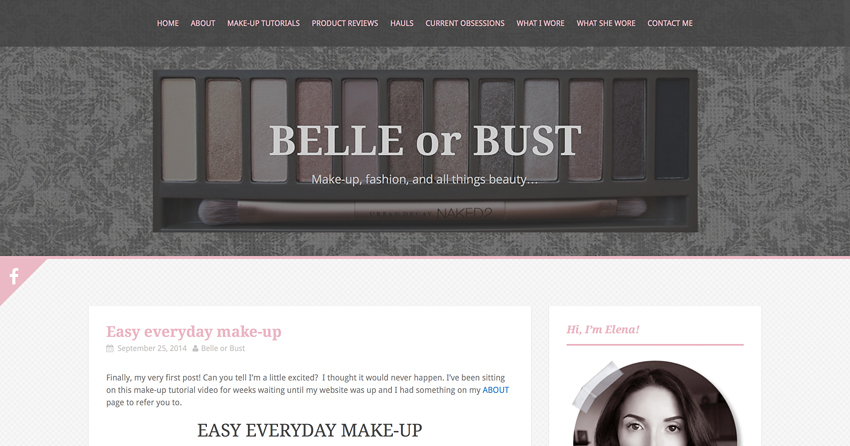 Screenshot of my beauty blog Belle or Bust via Cropped Stories