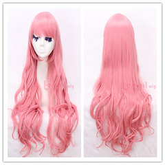 80cm long pink wavy sweet Cosplay hair wig CW201D