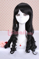 60cm long Classic black wave Anime cosplay wig ZY06-C