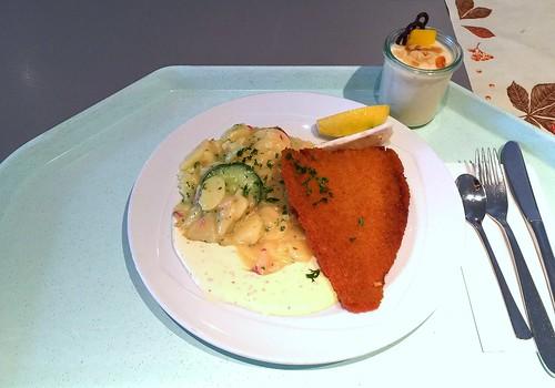 Baked plaice with remoulade & potato cucumber salad / Gebackene Scholle mit Remoulade & Kartoffel-Gurken-Salat