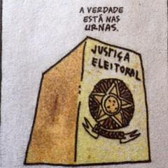 A verdade não está nas manifestações A verdade não está na TV Não está nas pesquisa, Não está no Facebook.  A verdade está nas urnas.  Fabio Moon & Gabriel Bá, na Folha de hoje.