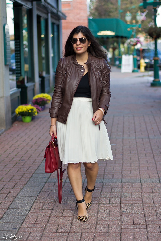 pleated skirt, leather jacket, leopard pumps-6.jpg