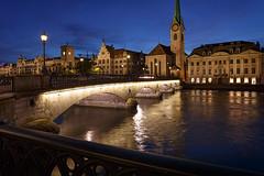 Zurich, River Limmat at Night