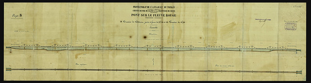 CẦU LONG BIÊN - PONT SUR LE FLEUVE ROUGE - Pont Paul Doumer. Élévation d'ensemble des travées. Mặt đứng tổng thể của các nhịp cầu