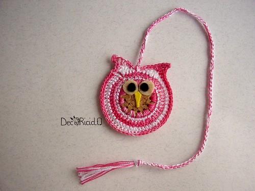 gufo segnalibro rosa-bianco 1