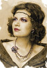 """Multi-strand brooch necklace and earrings """"Melody of the dusk"""""""