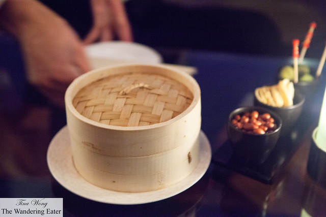 Steamer basket filled with soup dumplings