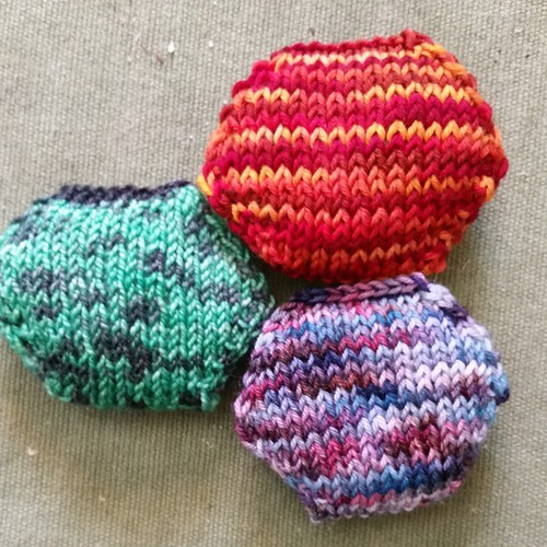 Three new hexipuffs  #knitting