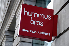 Hummus Bros restaurant sign. The restaurant claims…